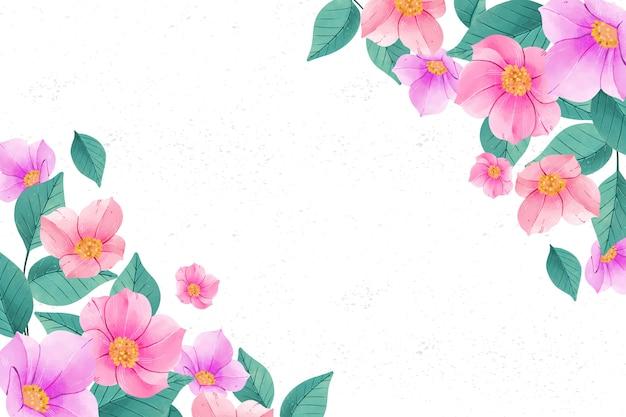 Fondo de flores acuarela en colores pastel con espacio de copia