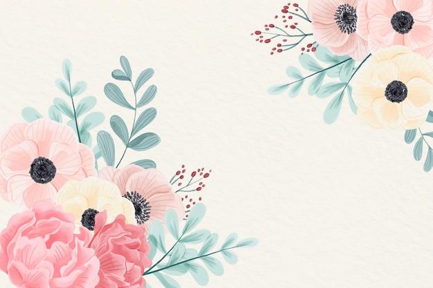 Fondo de flores acuarela en colores pastel