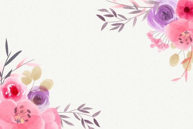 Fondo de flores acuarela de colores pastel