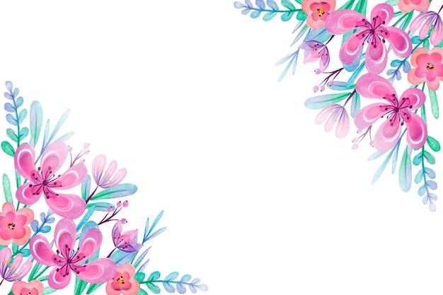 Fondo de flores acuarela pintada a mano