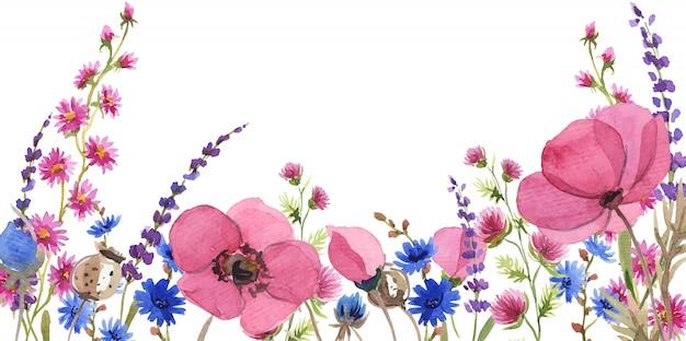 Fondo de flores acuarela