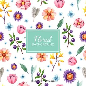 Fondo de flores en acuarela