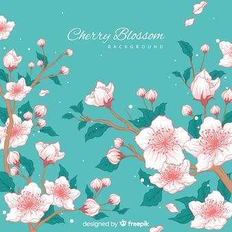 Fondo de flores de cerezo dibujado a mano