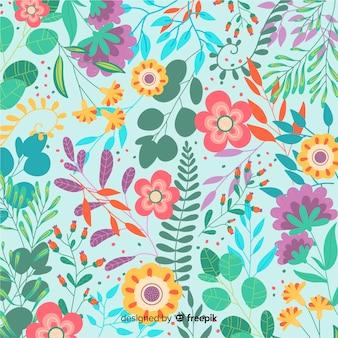 Fondo flores coloridas dibujadas a mano