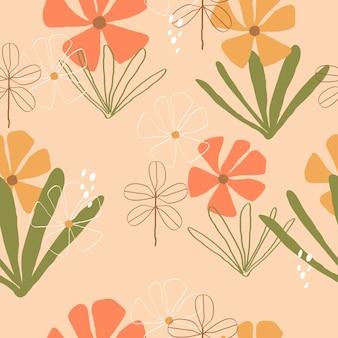 Fondo de flores dibujadas a mano colorido transparente