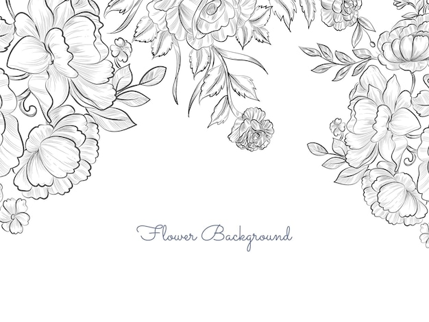 Fondo de flores dibujadas a mano elegante simple