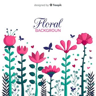 Fondo de flores dibujado a mano