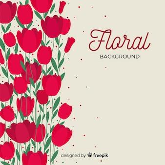 Fondo de flores en diseño plano
