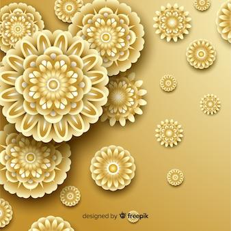 Fondo con flores doradas en 3d, diseño islámico