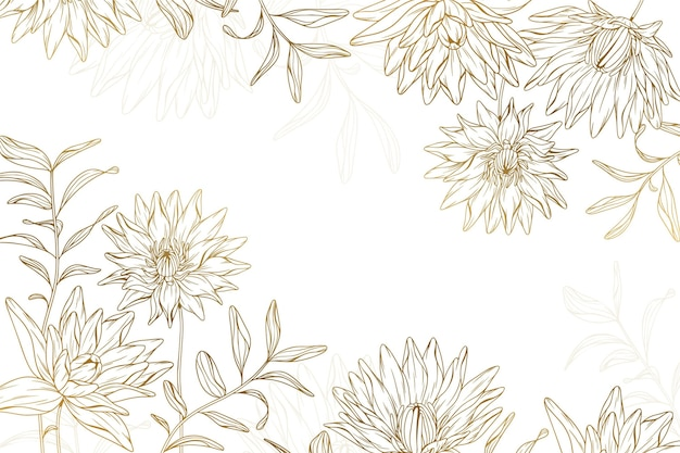 Fondo de flores doradas dibujadas a mano