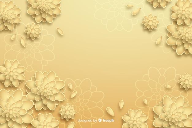 Fondo de flores doradas en estilo 3d