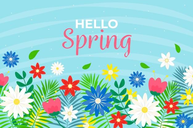 Fondo de flores florecientes de primavera de diseño plano