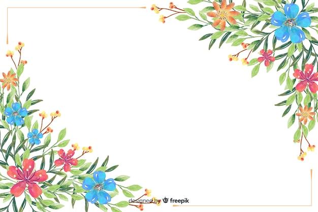 Fondo de flores y hojas dibujadas en acuarelas