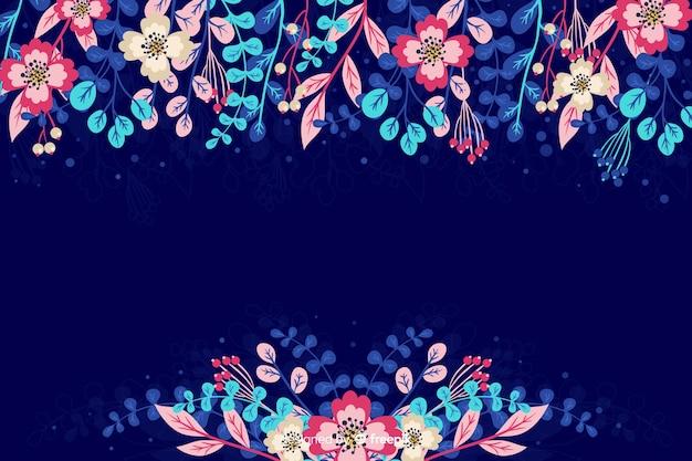 Fondo de flores y hojas dibujadas