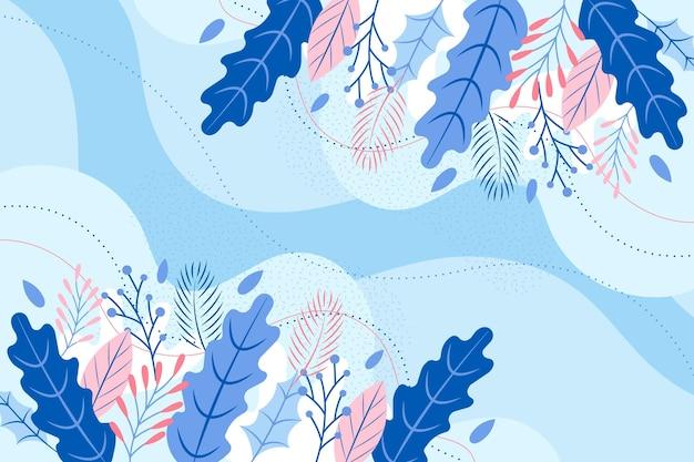 Fondo de flores de invierno de diseño plano