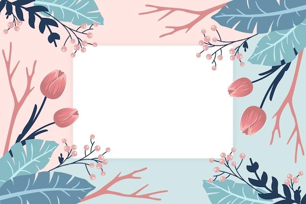 Fondo de flores de invierno con placa vacía