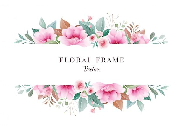 Fondo de flores marco floral horizontal para la composición de la tarjeta de invitación de boda. decoración botánica para guardar la fecha, saludo, gracias, póster, portada. vector de ilustración de sakura