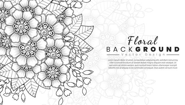 Fondo con flores mehndi líneas negras sobre fondo blanco plantilla de banner o tarjeta