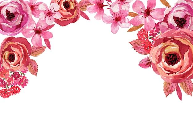 Fondo de flores monocromas acuarela