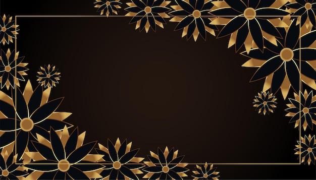 Fondo de flores negras y doradas