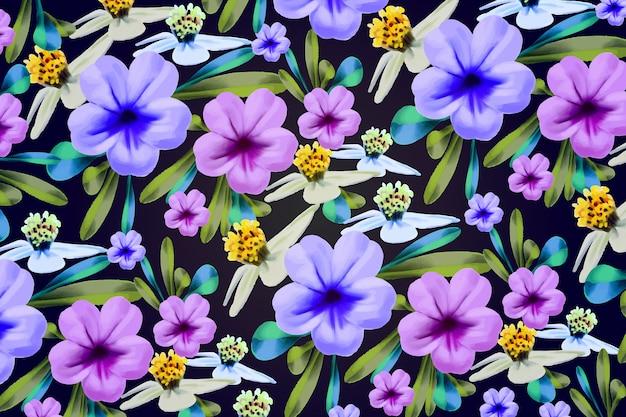 Fondo de flores pintadas a mano