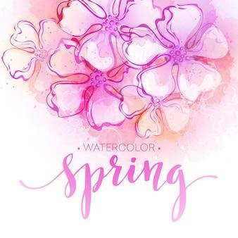 Fondo de flores de primavera acuarela. ilustración