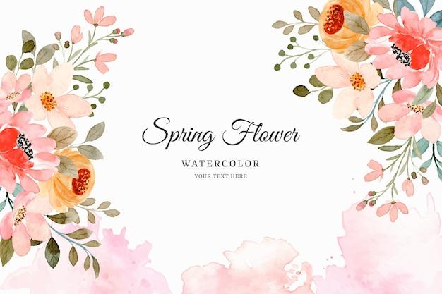 Fondo de flores de primavera en acuarela