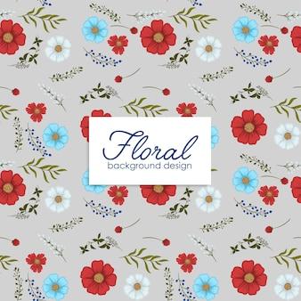 Fondo de flores rojo, azul claro, flores blancas de patrones sin fisuras