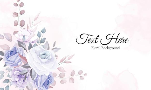 Fondo de flores románticas con decoración de flores moradas