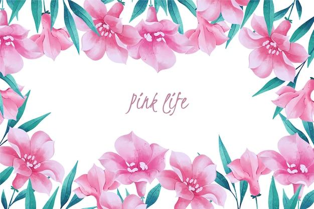 Fondo de flores rosadas de primavera acuarela