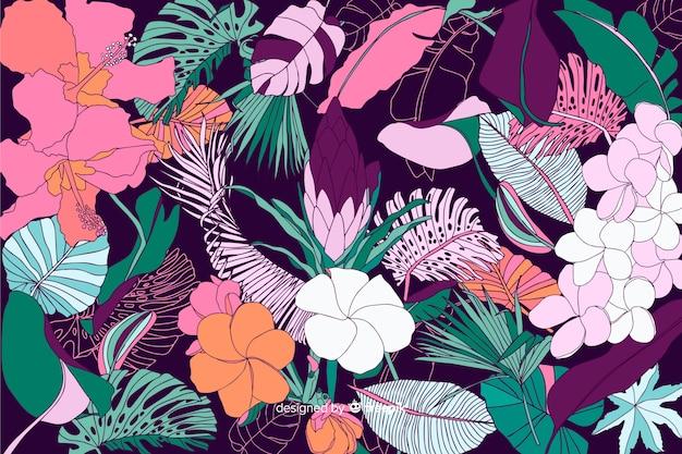 Fondo de flores tropicales en 2d estilo