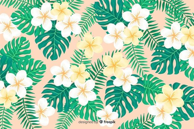 Fondo de flores tropicales 2d