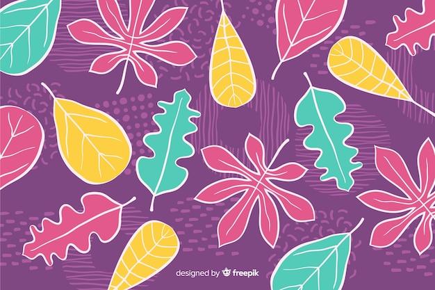 Fondo de flores tropicales dibujadas a mano