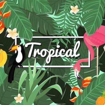 Fondo de flores tropicales. diseño de verano. vector.
