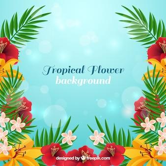 Fondo de flores tropicales en estilo realista