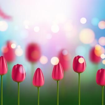 Fondo de flores con tulipanes