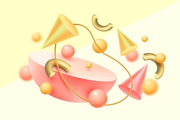 Fondo flotante de formas 3d realistas de oro y rosa