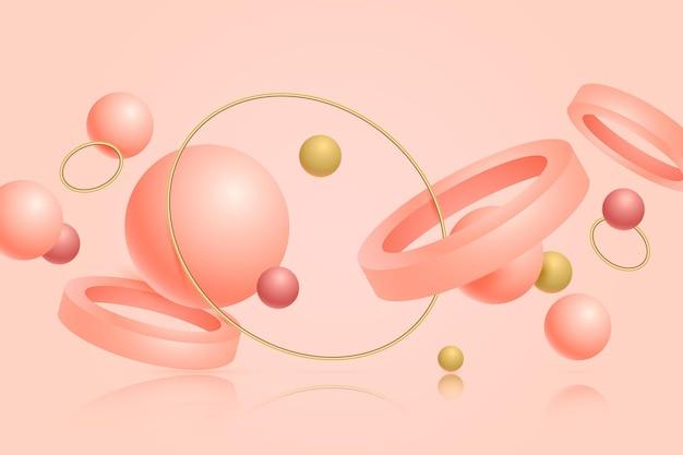 Fondo flotante de formas 3d rosa y dorado