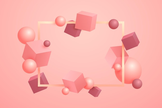 Fondo flotante de formas 3d rosa