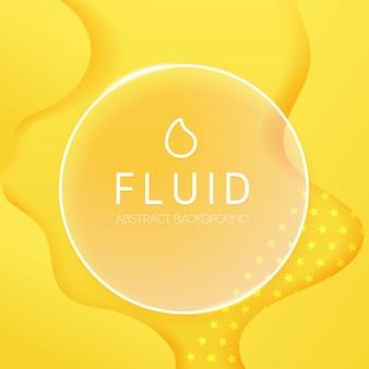 Fondo fluido abstracto con marco de cristal y texto de ejemplo. plantilla de vectores para web, impresión,