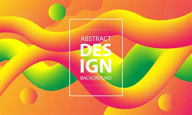 Fondo fluido dinámico naranja y verde colorido plantilla de diseño de concepto de verano moderno