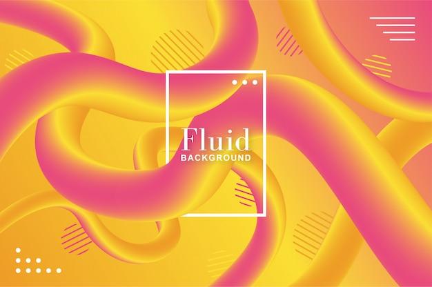 Fondo fluido fluido con formas amarillas y rosadas.