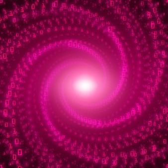 Fondo de flujo de datos. flujo violeta de big data como cadenas de números binarios retorcidas en un túnel infinito
