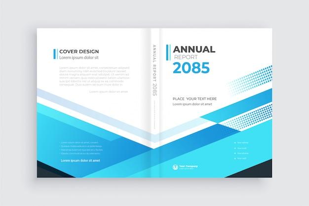 Fondo de folleto con formas geométricas, plantilla de portada de libro abierta