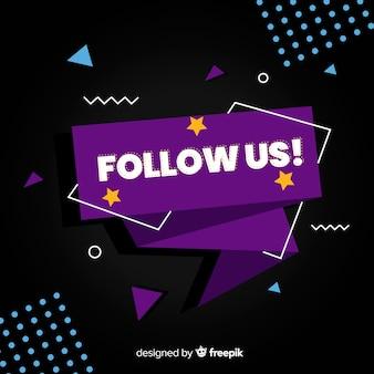 Fondo de follow us en diseño plano