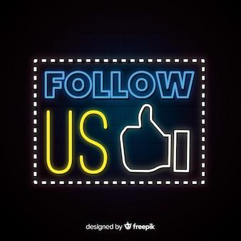 Fondo de follow us de neón