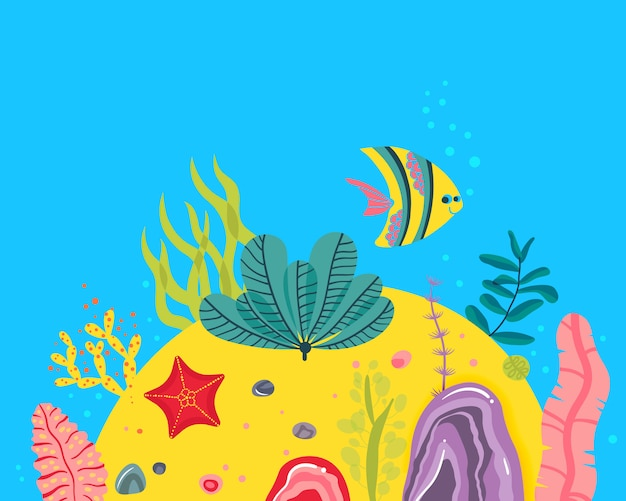 Fondo con fondo oceánico, arrecifes de corales, algas, estrellas de mar, peces.