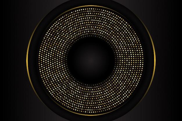 Fondo de forma de círculo negro de lujo con combinación de puntos dorados brillantes