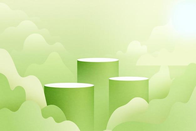 Fondo de forma geométrica mínima abstracta de corte de papel 3d podio de cilindro verde en el paisaje de la naturaleza