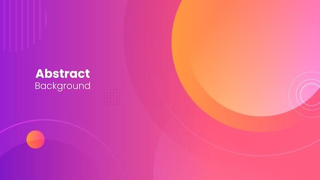 Fondo y formas abstractas de círculos de color naranja, rosa y morado